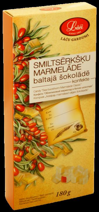 Smiltsērkšķu marmelāde baltajā šokolādē