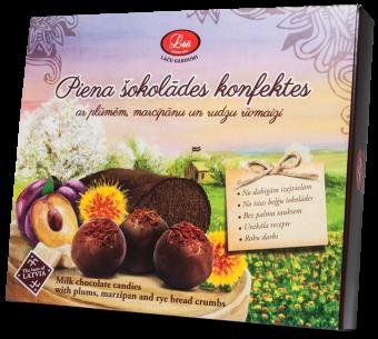 Piena šokolādes konfektes ar plūmēm, marcipānu un rudzu rīvmaizi