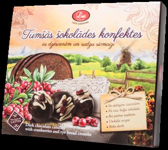 Tumšās šokolādes konfektes ar dzērvenēm un rudzu rīvmaizi